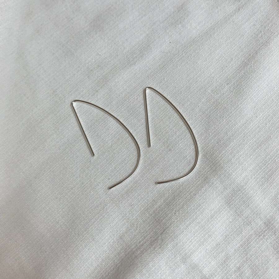 'D' Hoop Open Arc Earrings | Sterling Silver