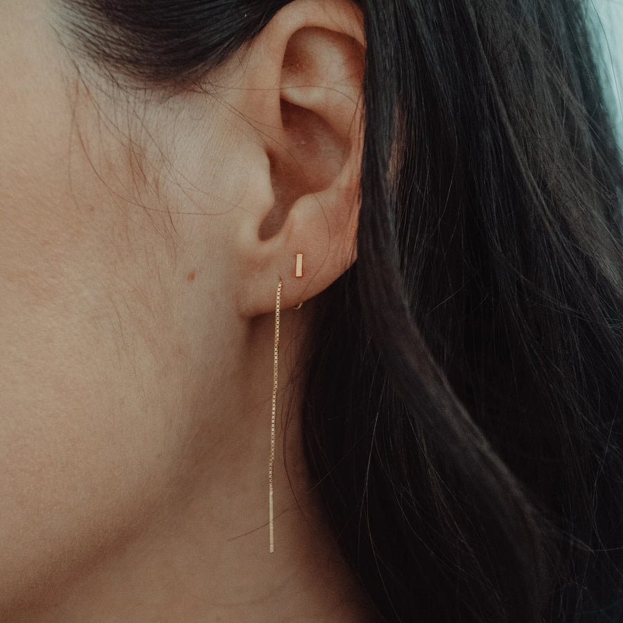 Mia Threads with Stud Earring | Sterling Silver, Gold-plated or Rose-plated. - Lines & Current