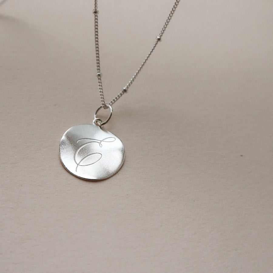 sterling silver engraved dreamer coin necklace