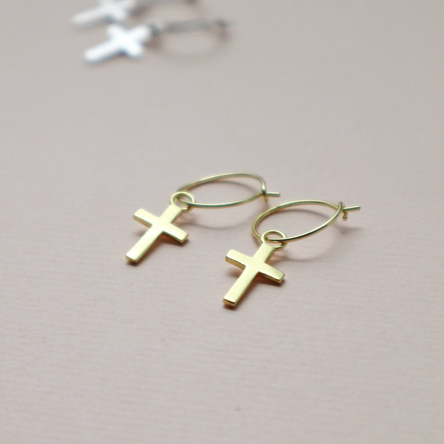 simple hoops and cross charm