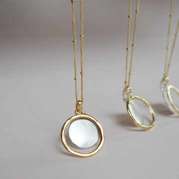 New Moon Open Circle Coin Necklace