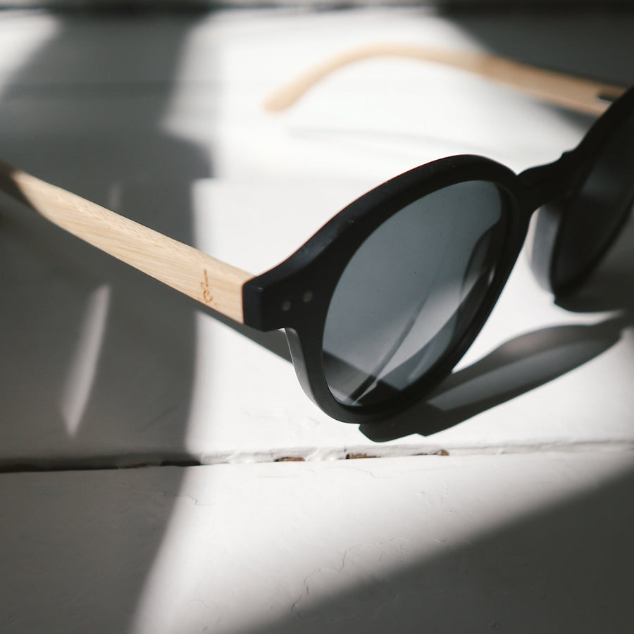 'Harriet' Black Bamboo | Recycled Acetate Sunglasses