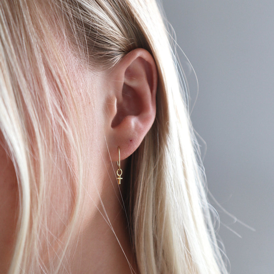 'Hali' Hoops + Mini Dotty Cross Charms
