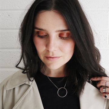 'Odin' Oversized Circle Necklace | Sterling Silver - Lines & Current