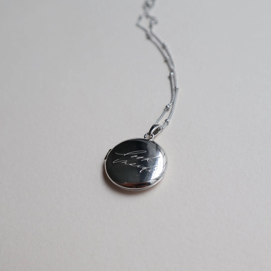 'Look Inside' Circle Locket - Lines & Current