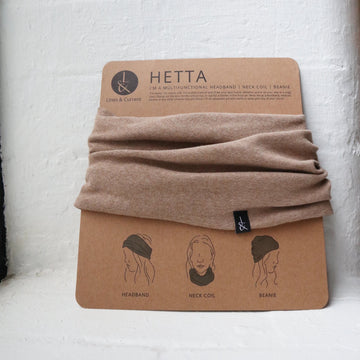 'Hetta' Headband | Beanie | Neck coil | Sandy Brown - Lines & Current