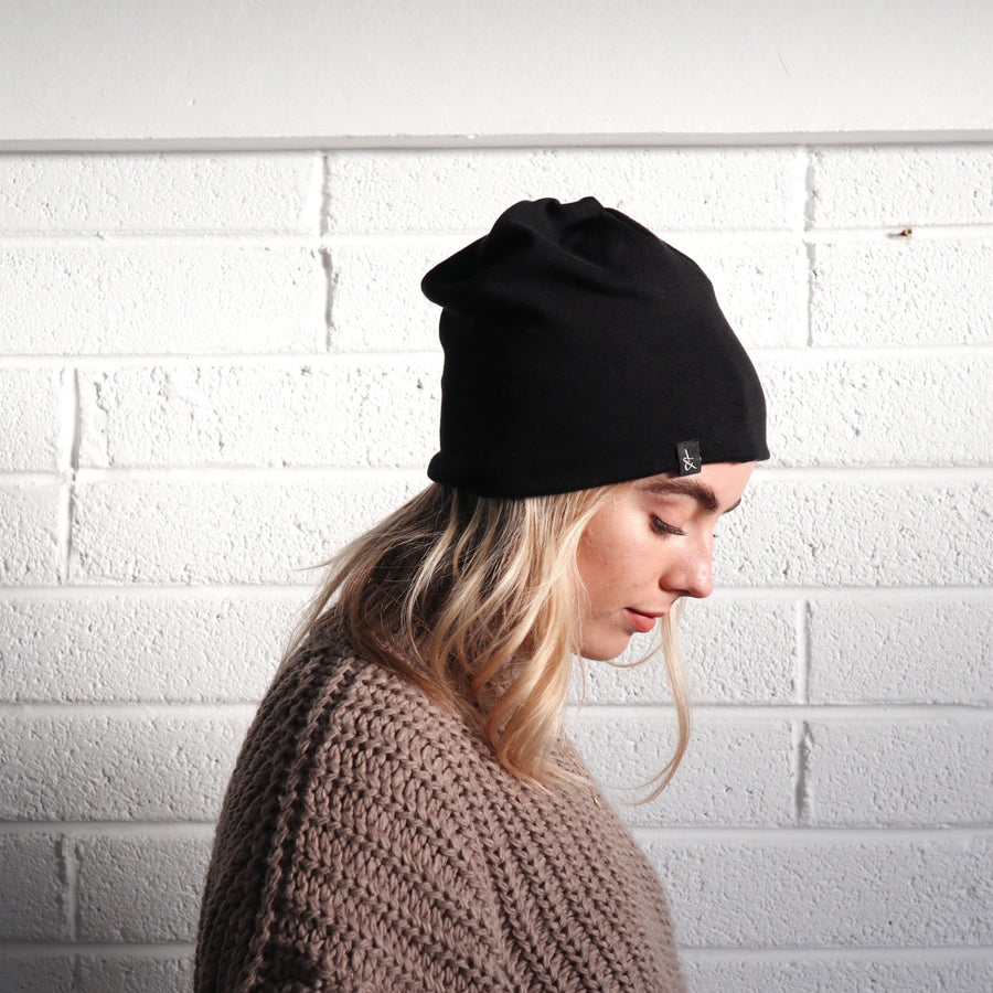 'Hetta' Headband | Beanie | Neck coil | Pitch Black - Lines & Current