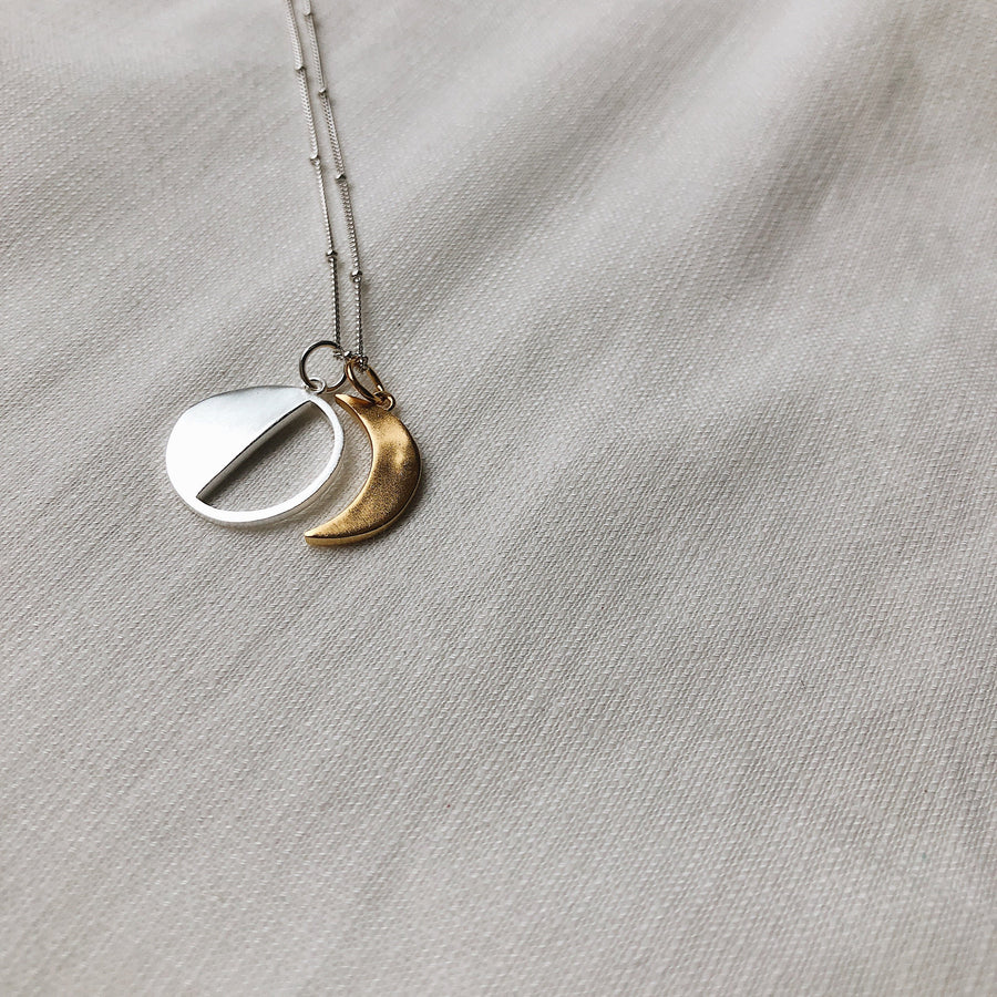 The Moon Sister Pendant Necklace | Sterling Silver & Gold-Plated (Build Your Own)