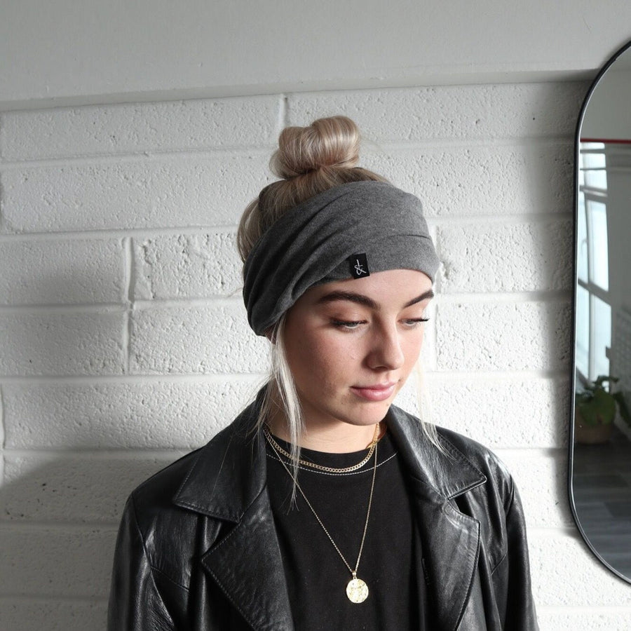 'Hetta' Headband | Beanie | Neck coil | Slate Grey - Lines & Current