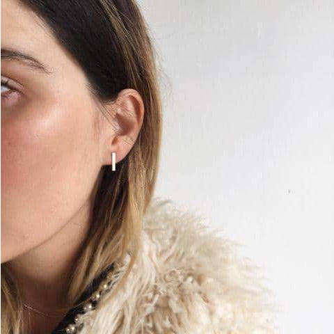 Bar Earrings | Sterling Silver, Rose & Gold - Lines & Current