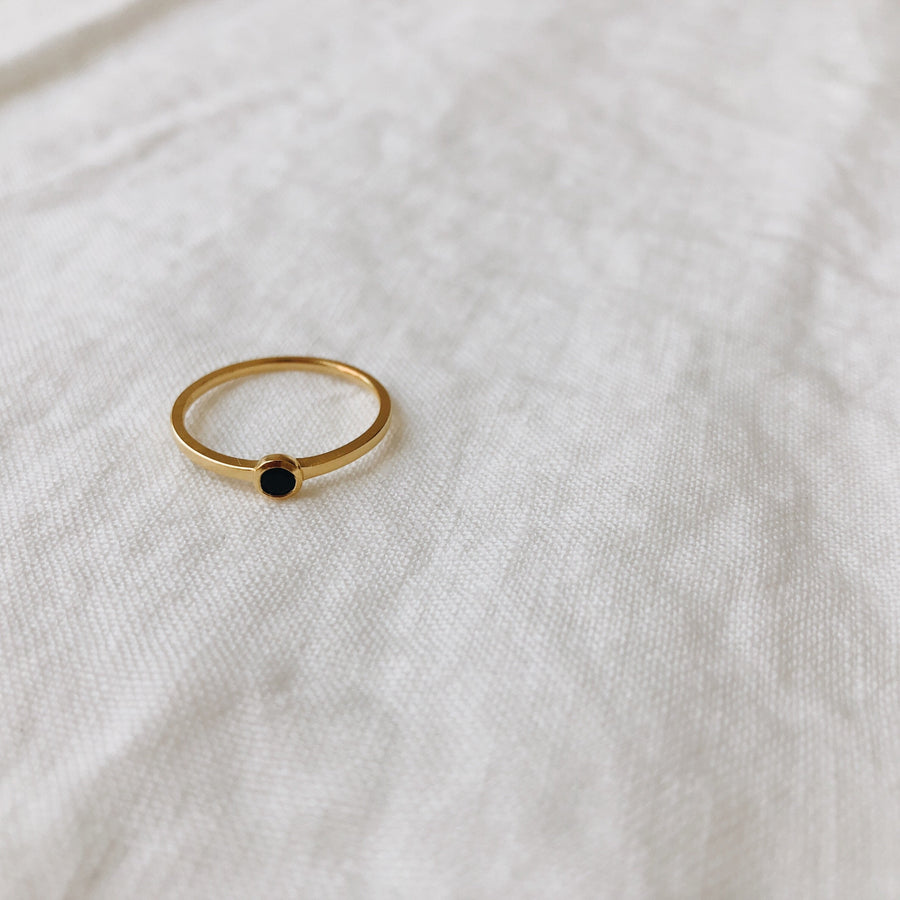 Mona Ring with Small Black Stone | Sterling Silver & 18K Gold-Pated