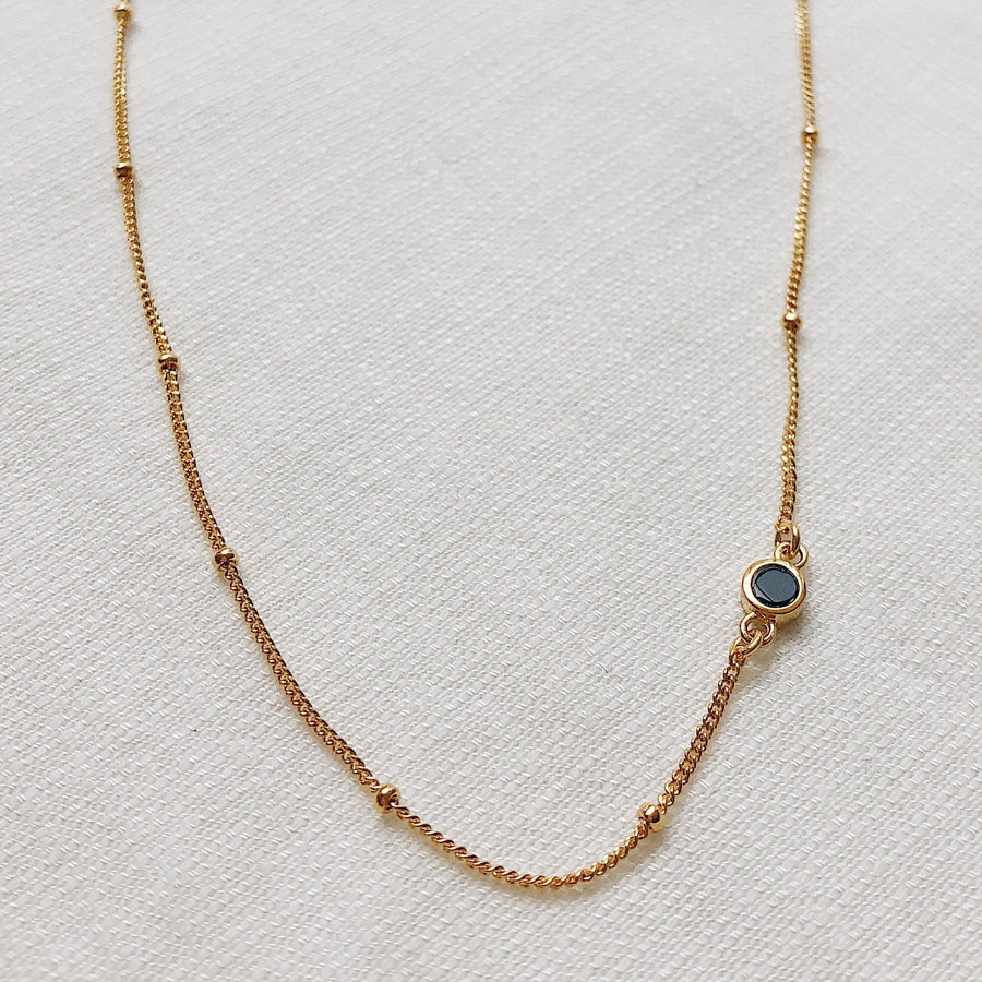 The Mona Choker Necklace Onyx Stone | Sterling Silver or 18K Gold-Plated - Lines & Current