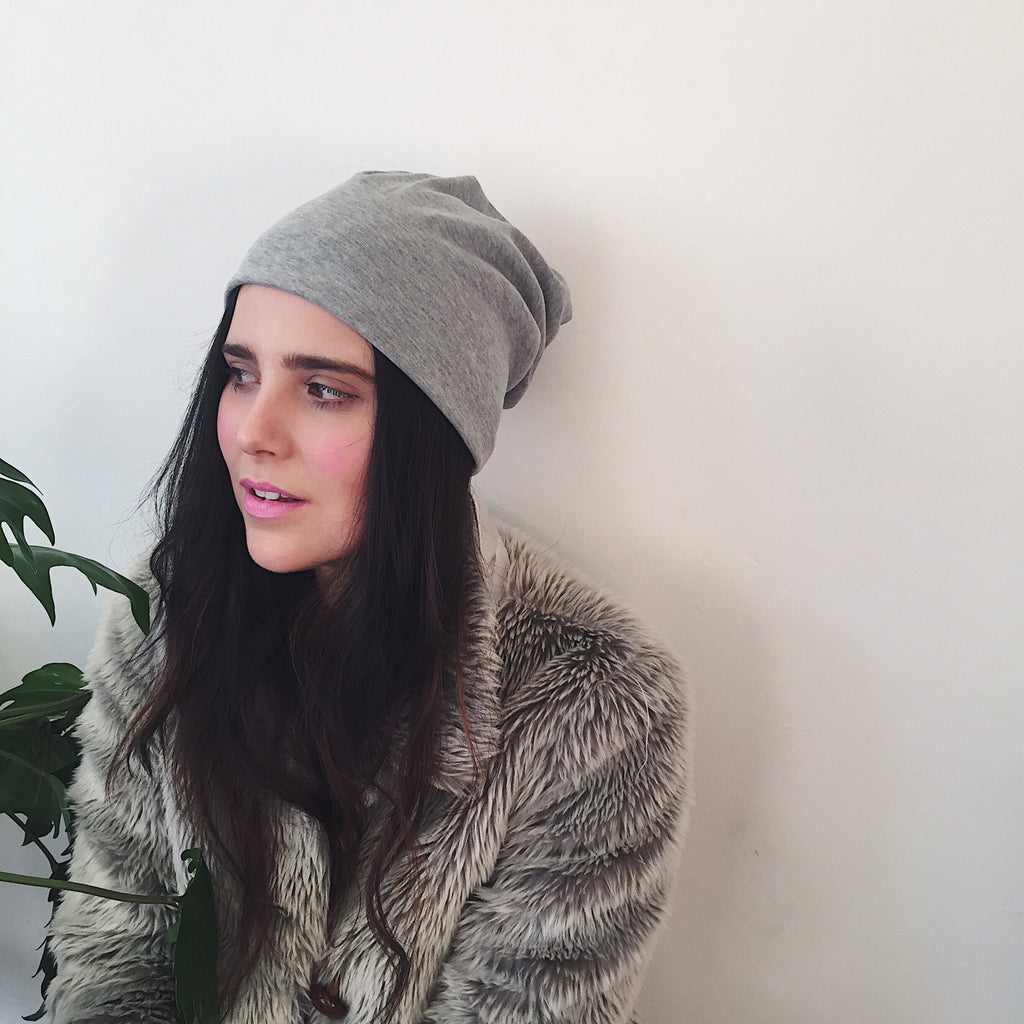 the HETTA hat, turban headband, beanie (in one) - Lines & Current - in dove grey
