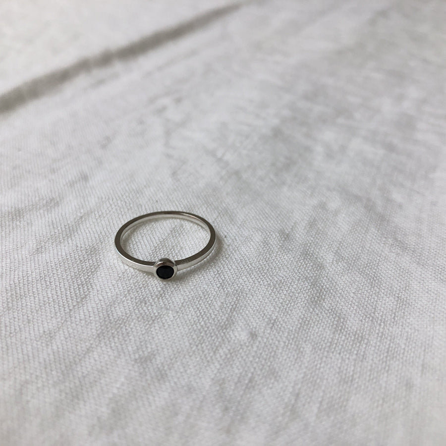 Mona Ring with Small Black Stone | Sterling Silver & 18K Gold-Pated - Lines & Current