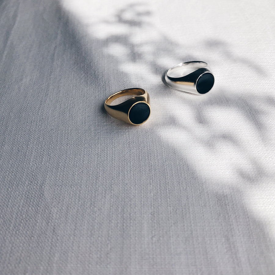 'Olinda' Black Onyx Signet Ring | 18K Gold Plated & Sterling Silver - Lines & Current