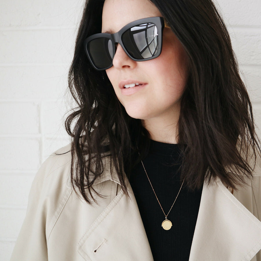 Matt Black oversized Henning Sunglasses
