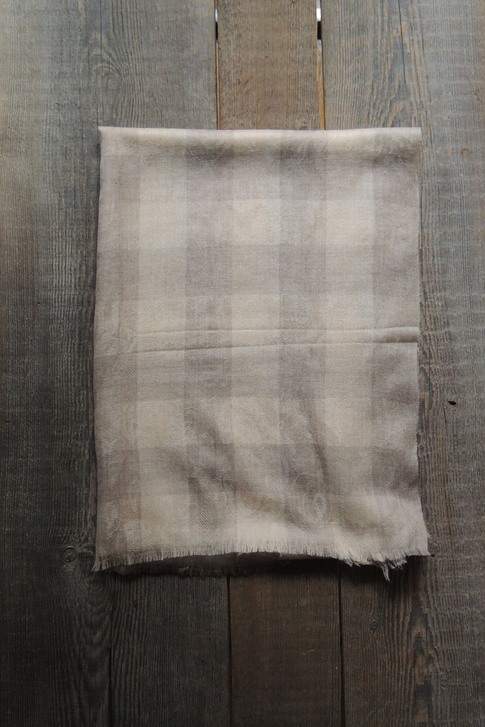 Linen/Taupe Plaid Pashmina Shawl - Simple Life Istanbul   - 2