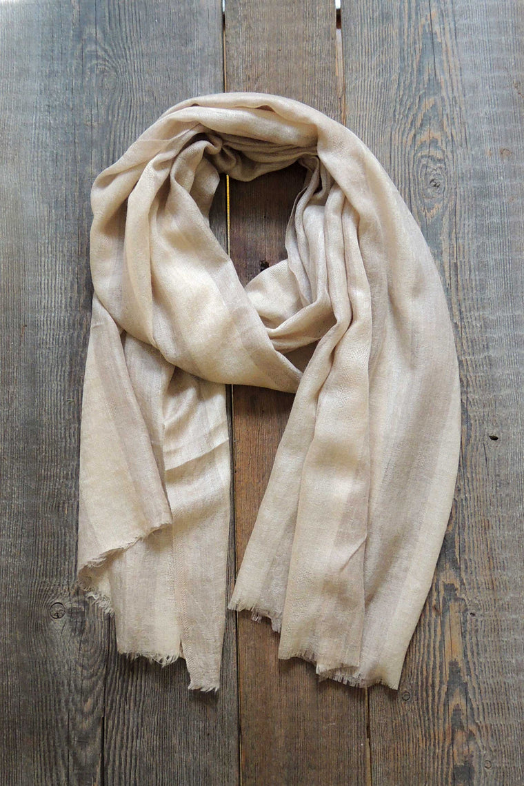 Linen/Taupe Striped Pashmina Shawl - Simple Life Istanbul   - 1