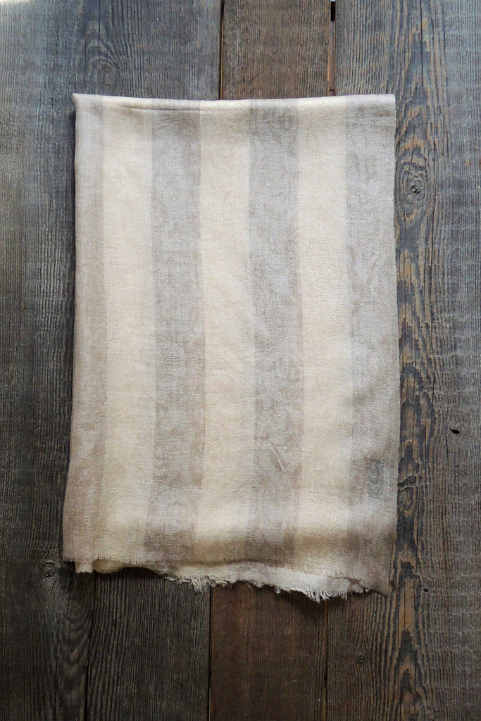 Linen/Taupe Striped Pashmina Shawl - Simple Life Istanbul   - 2