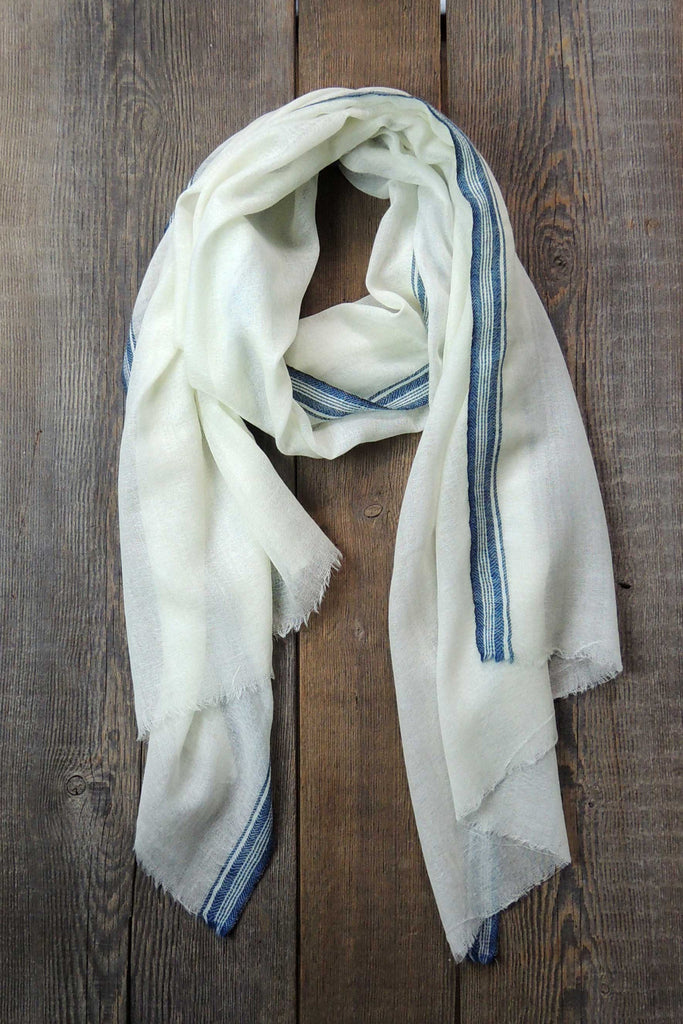 Ivory Super Fine Wool/Cashmere Shawl with Navy Trim - Simple Life Istanbul   - 1