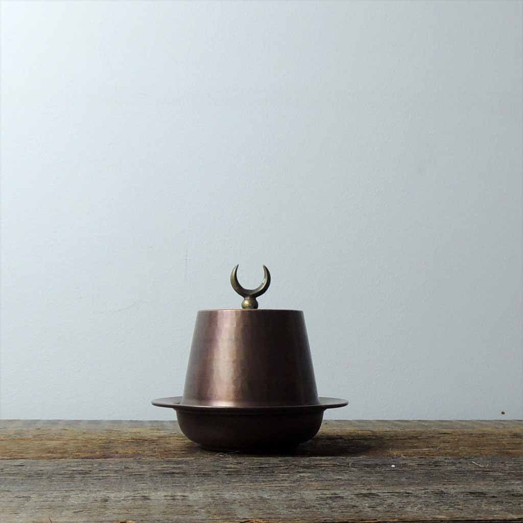 Oxidized Tinned Copper Fez Lidded Bowl - Simple Life Istanbul   - 1