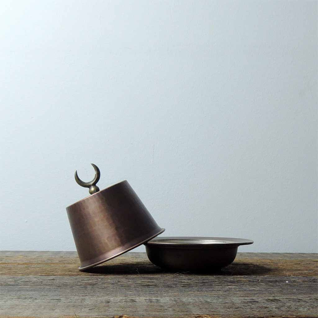 Oxidized Tinned Copper Fez Lidded Bowl - Simple Life Istanbul   - 2