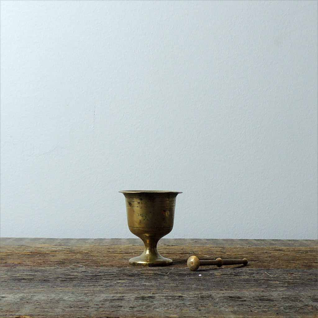 Antique Mini Brass Mortar & Pestel - Simple Life Istanbul   - 2