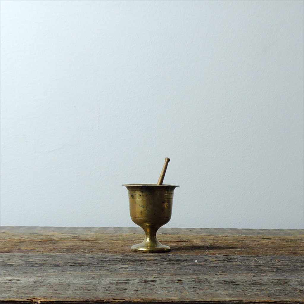 Antique Mini Brass Mortar & Pestel - Simple Life Istanbul   - 1
