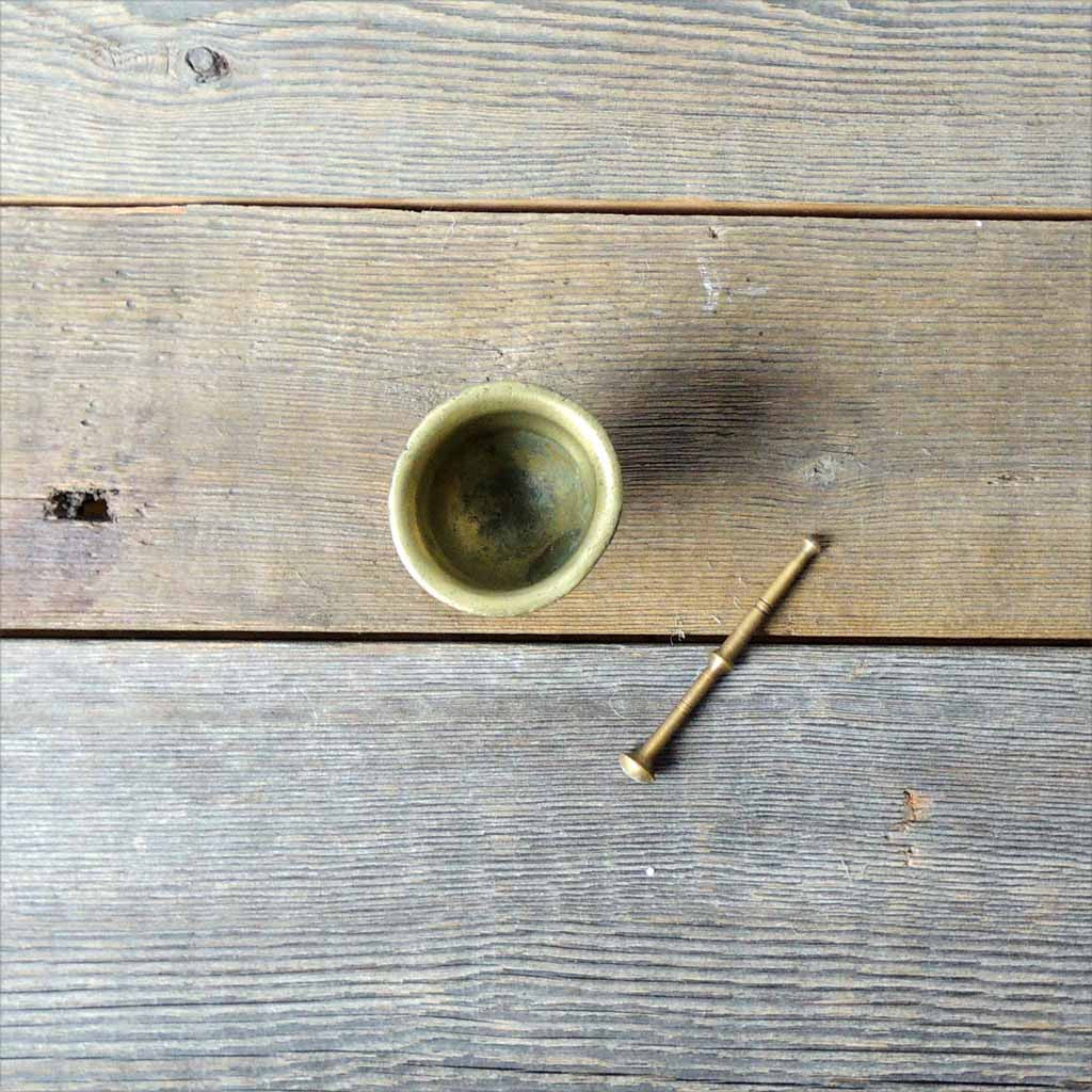 Antique Mini Brass Mortar & Pestel - Simple Life Istanbul   - 3