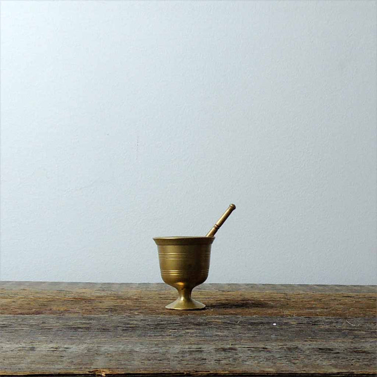 Antique Mini Brass Mortar & Pestle - Simple Life Istanbul   - 1