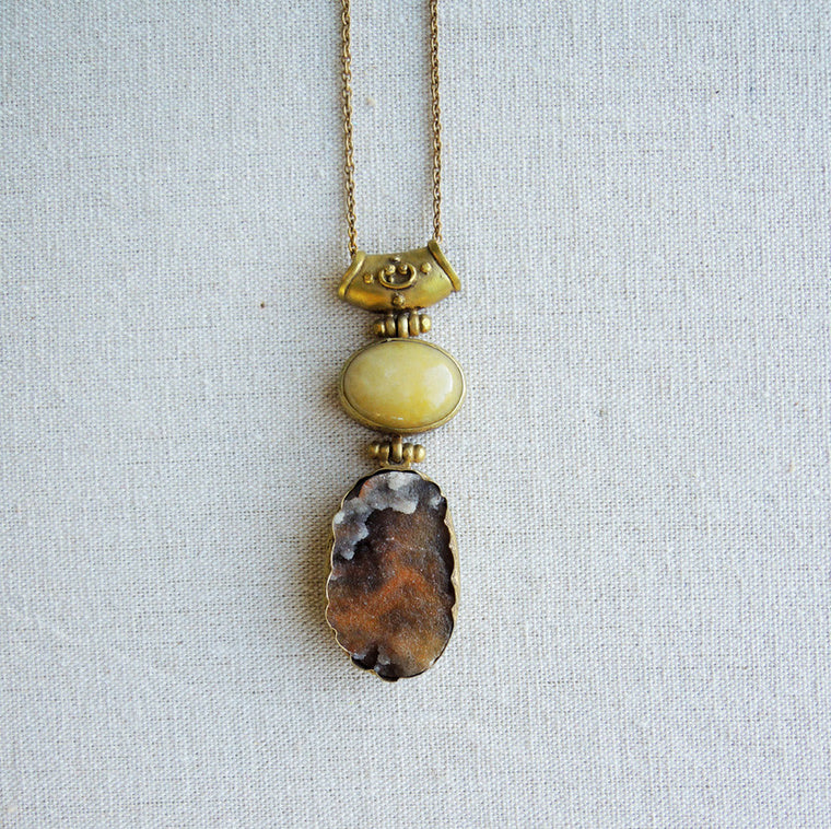 Agate & Druzy Citrine Pendant Necklace - Simple Life Istanbul   - 1