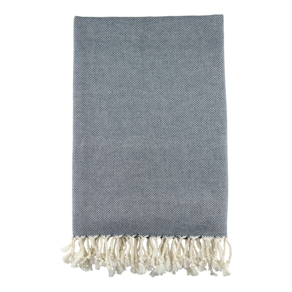 Navy Daisy Cotton Turkish Peshtemal Towel - Simple Life Istanbul   - 2