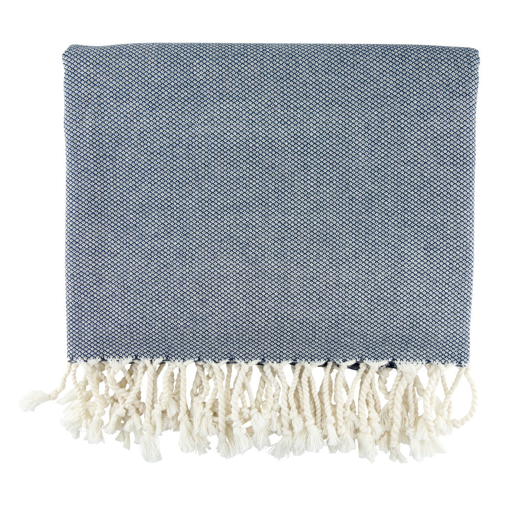 Navy Daisy Cotton Turkish Peshtemal Towel - Simple Life Istanbul   - 1