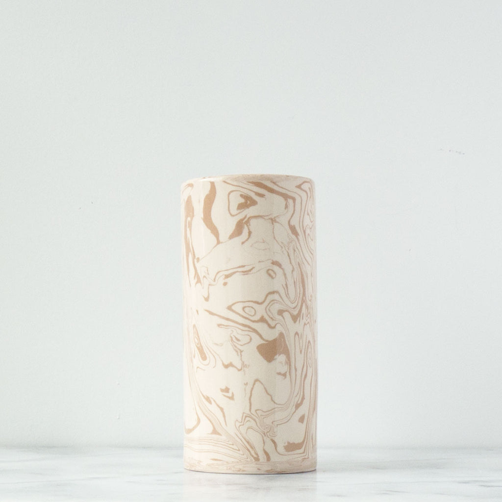 Beige Small Ebru Light Marble Ceramic Cylinder Vase - Simple Life Istanbul   - 1