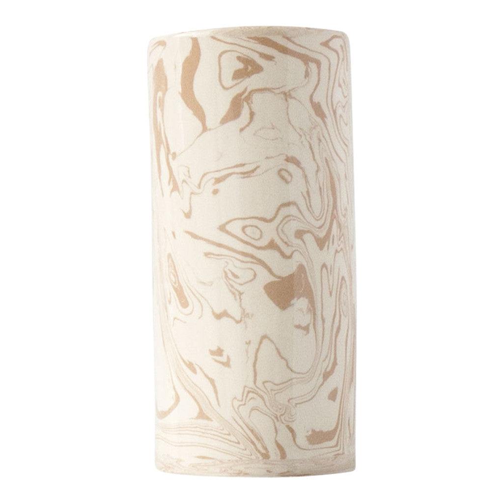 Beige Small Ebru Light Marble Ceramic Cylinder Vase - Simple Life Istanbul   - 2