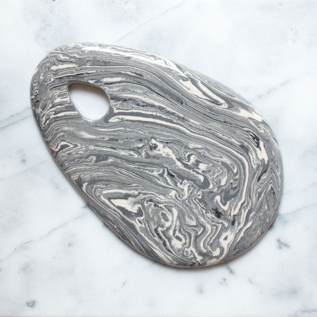 Grey Ebru Marble Ceramic Drop Cutting Board - Simple Life Istanbul