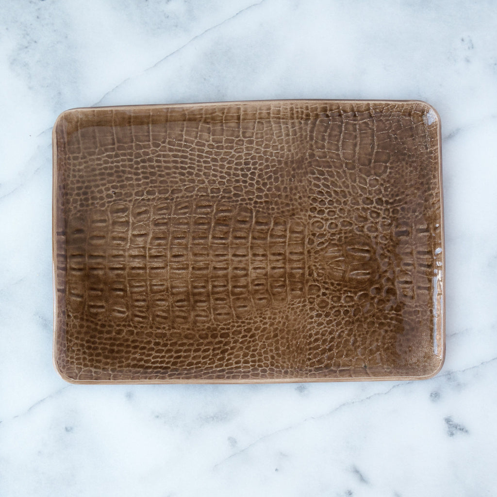 Light Brown Medium Mano Crocodile Rectangular Plate