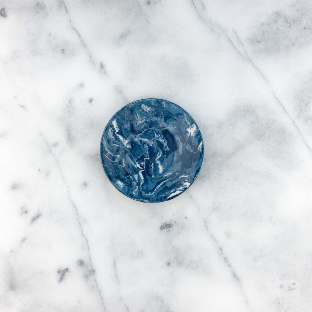 Cobalt Ebru Marble Ceramic Party Plate - Simple Life Istanbul   - 1