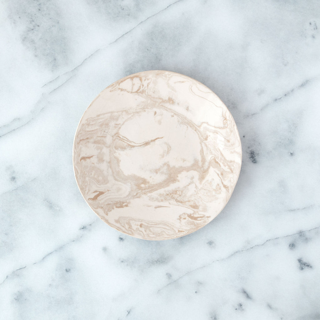 Beige Ebru Light Marble Ceramic Salad Plate - Simple Life Istanbul   - 1