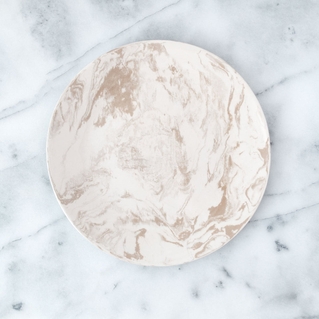 Beige Ebru Light Marble Ceramic Dinner Plate - Simple Life Istanbul   - 1