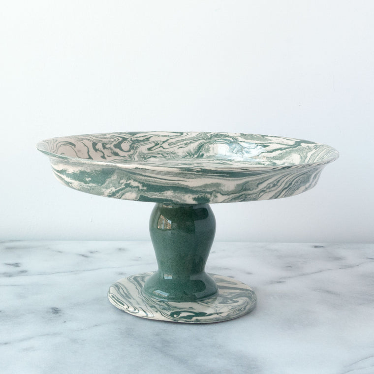 Green Ebru Light Marble Ceramic Cookie Stand - Simple Life Istanbul   - 1