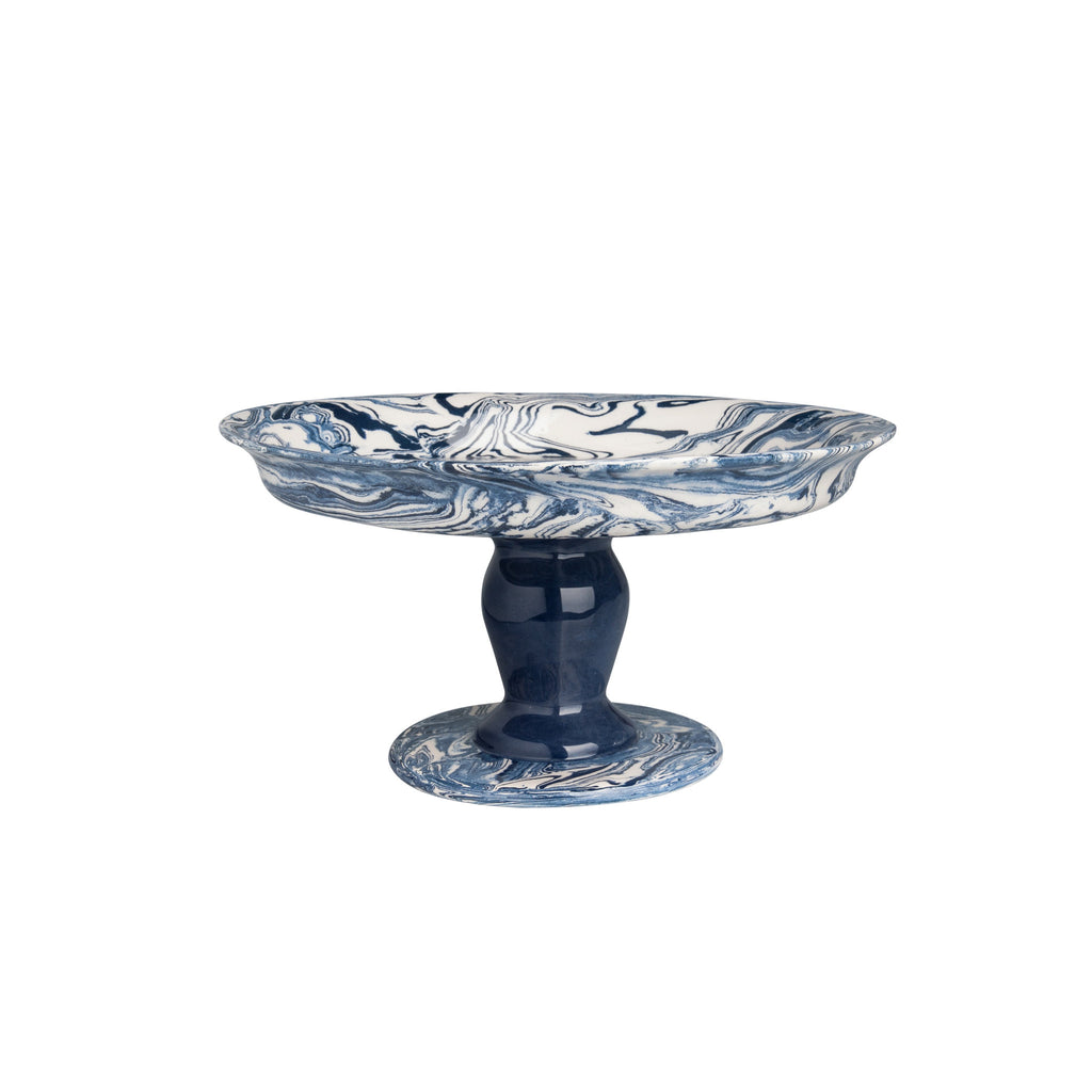 Blue Ebru Light Marble Ceramic Cookie Stand