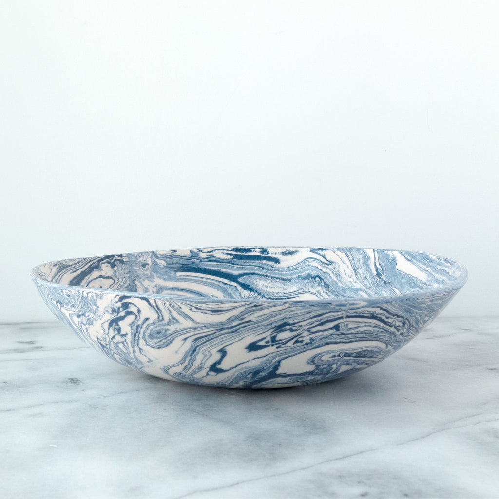 Blue Ebru Light Marble Ceramic Serving Bowl - Simple Life Istanbul   - 1