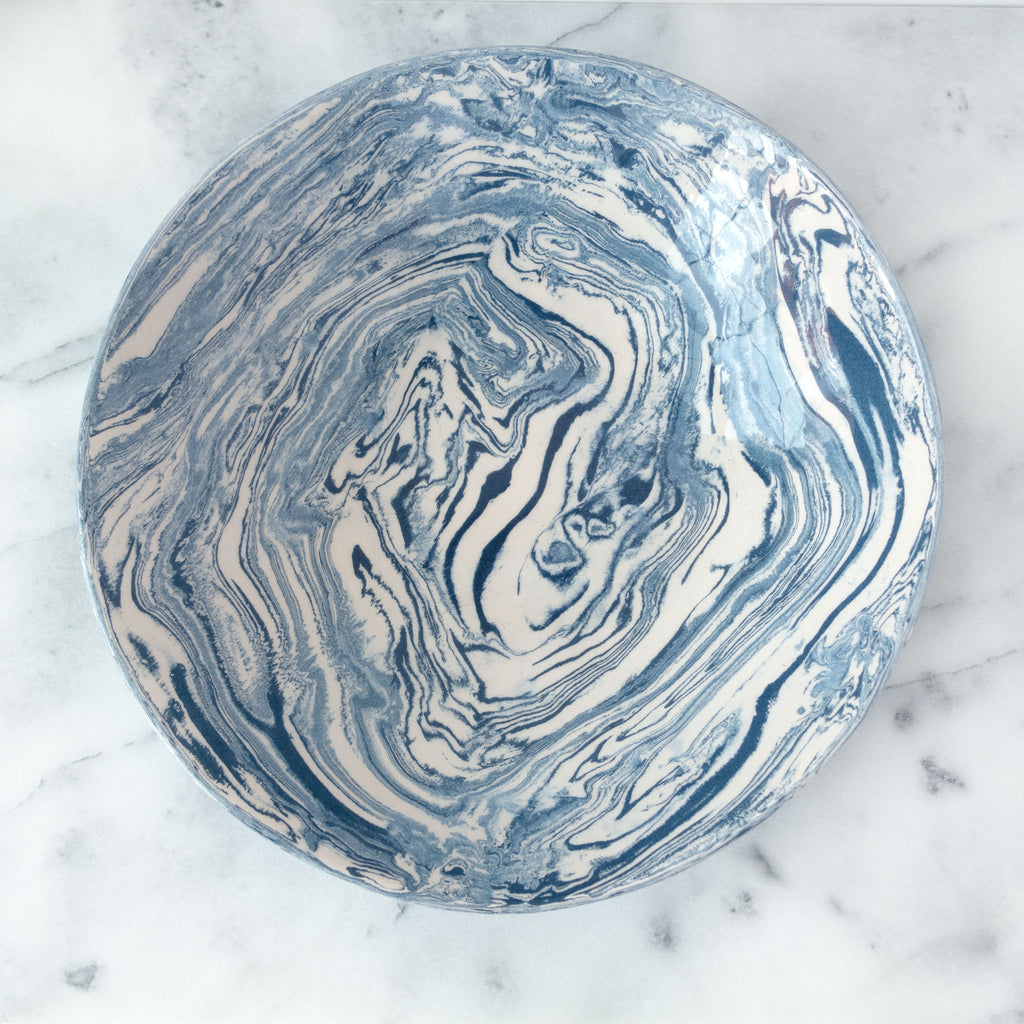 Blue Ebru Light Marble Ceramic Serving Bowl - Simple Life Istanbul   - 2