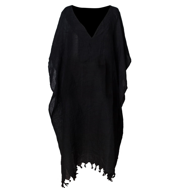 Black Linen Long Dress V-Neck - Simple Life Istanbul