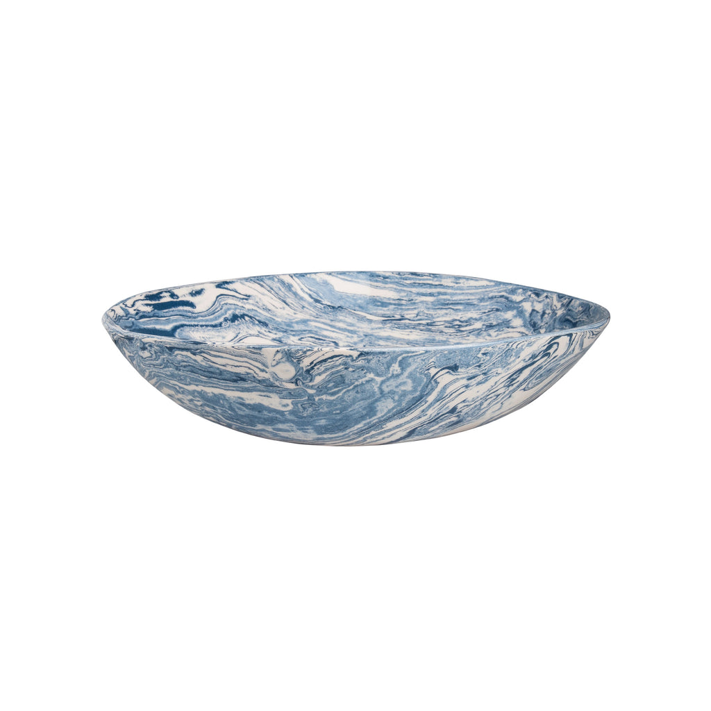 Blue Ebru Light Marble Ceramic Serving Bowl - Simple Life Istanbul   - 3