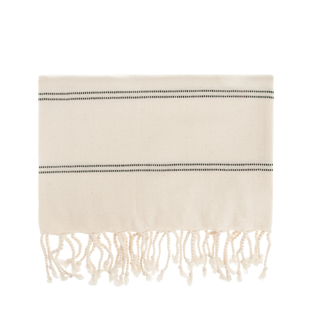 Black Stripe Cesme Cotton Turkish Peshtemal Towel - Simple Life Istanbul