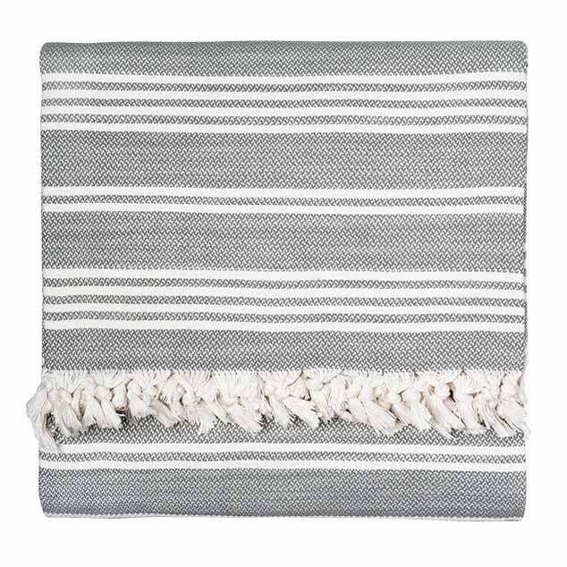 Grey Reverse Stripe Blanket - Simple Life Istanbul