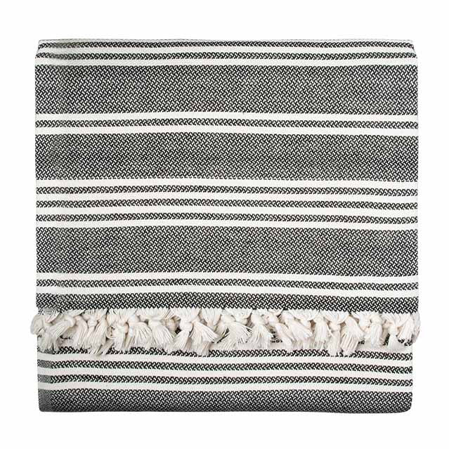 Black Reverse Stripe Blanket - Simple Life Istanbul