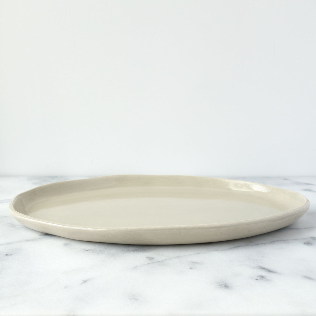 Large Beige Mano Oval Serving Plate